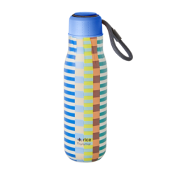 Stainless Steel Drinking Bottle Blue Green Summer Stripe