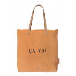 Zusss hippe boodschappentas 'CA VA?' in de kleur honing