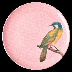 Dinner Plate Vintage Bird Pink