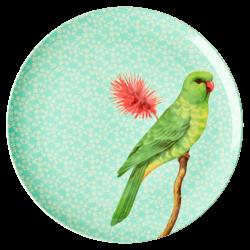 Dinner Plate Vintage Bird Green