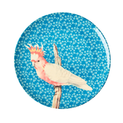 Melamine lunch plate Vintage Bird Blue