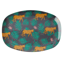 Melamine Plate Leopard and Leaves